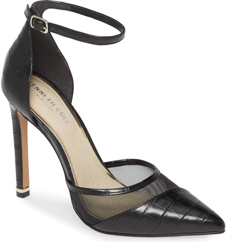 KENNETH COLE NEW YORK Riley Ankle Strap Pump, Main, color, BLACK LEATHER