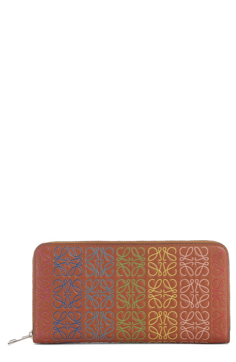 LOEWE Logo Embossed Zip Around Leather Wallet, Main, color, TAN MULTI