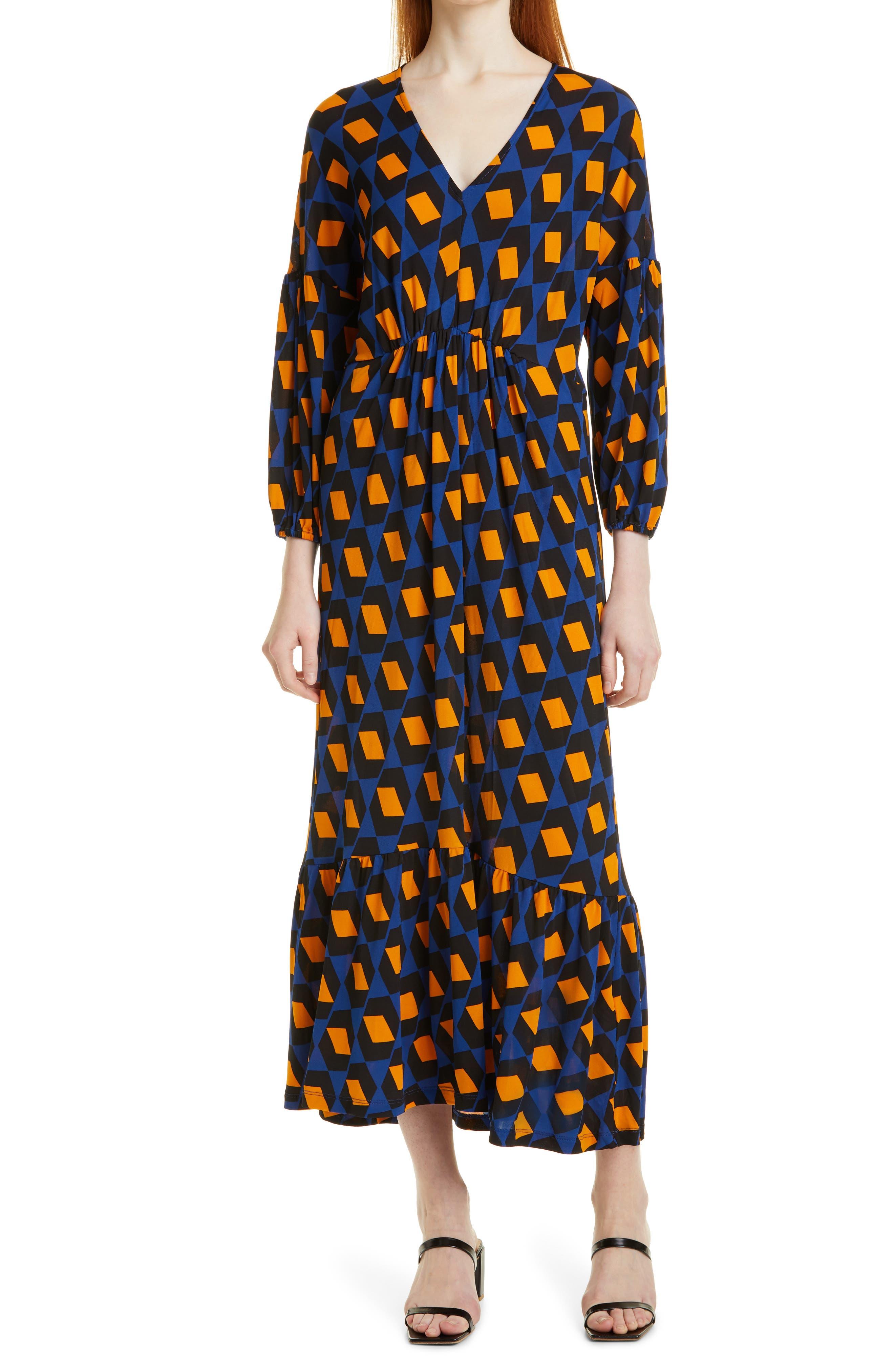 Ebony Geo Print Long Sleeve Maxi Dress