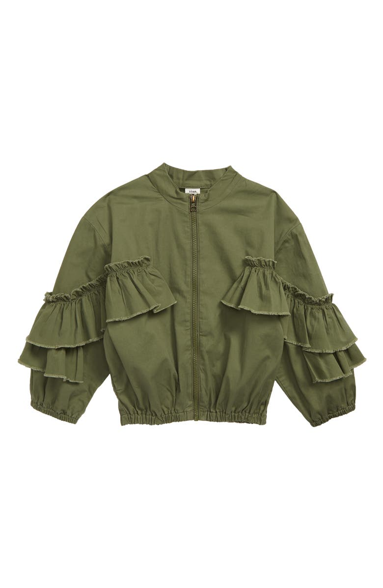 STEM Ruffle Sleeve Bomber Jacket, Main, color, OLIVE BRANCH