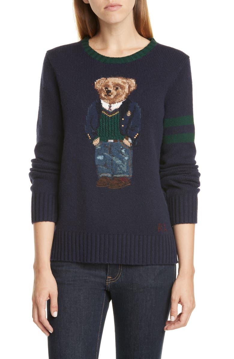 POLO RALPH LAUREN Bear Wool Sweater, Main, color, NAVY MULTI