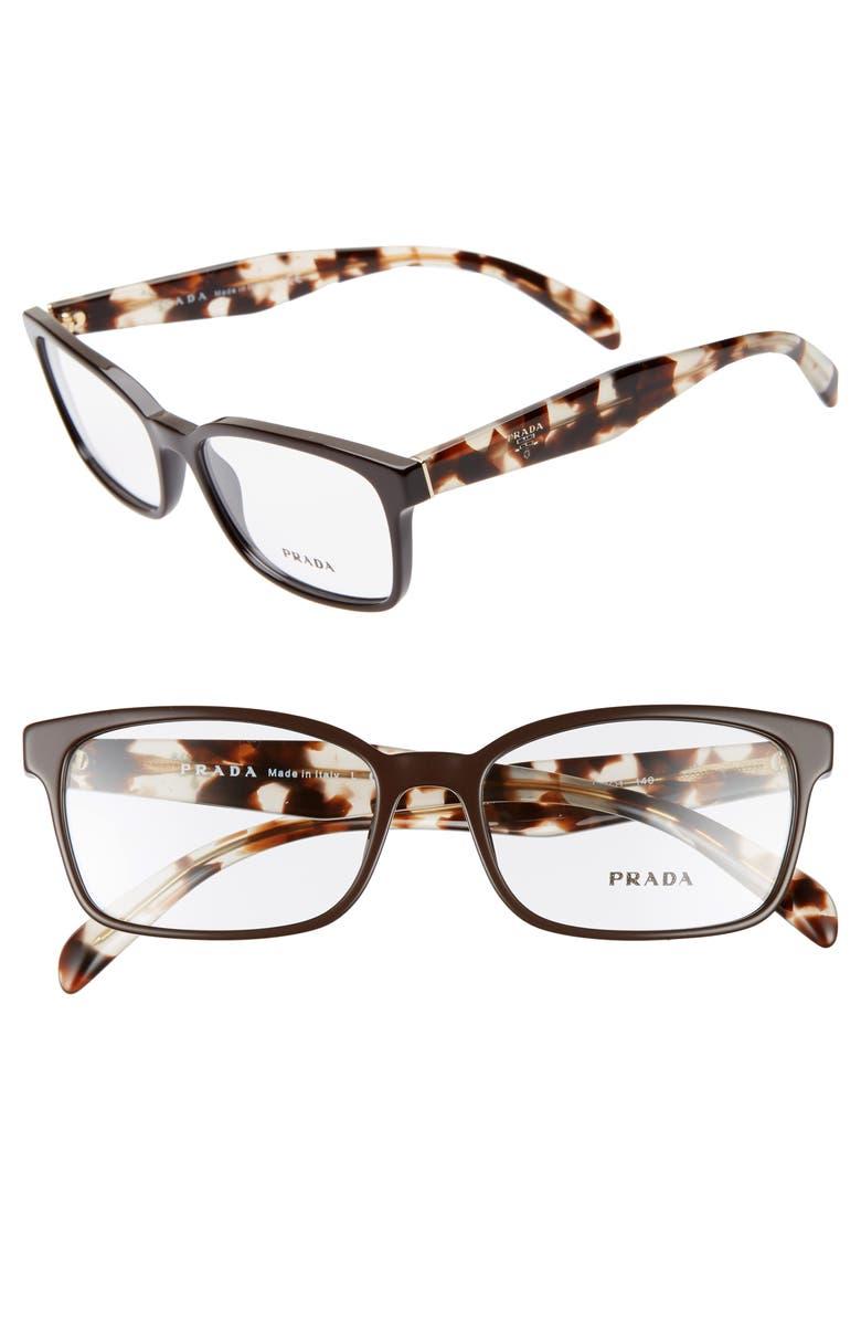 PRADA 53mm Square Optical Glasses, Main, color, GREY/ BROWN HAVANA