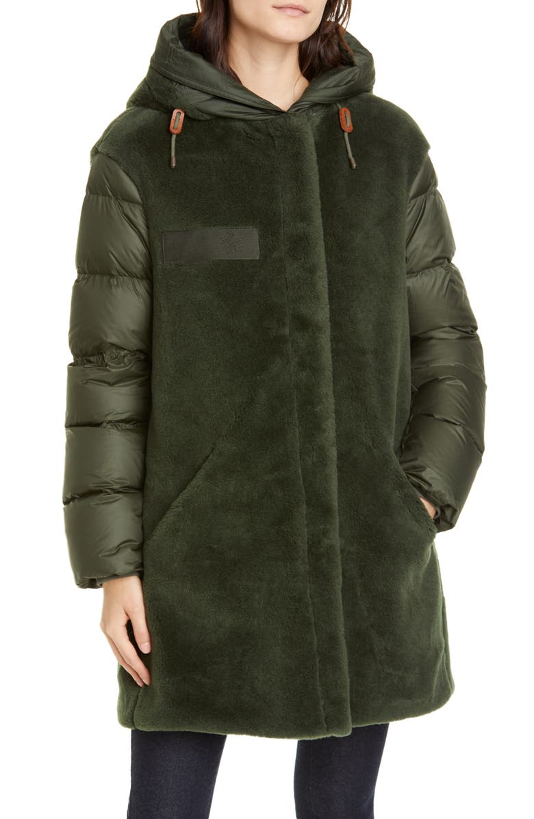 MR & MRS ITALY Faux Shearling & Quilted Down Combo Puffer Coat, Main, color, 300