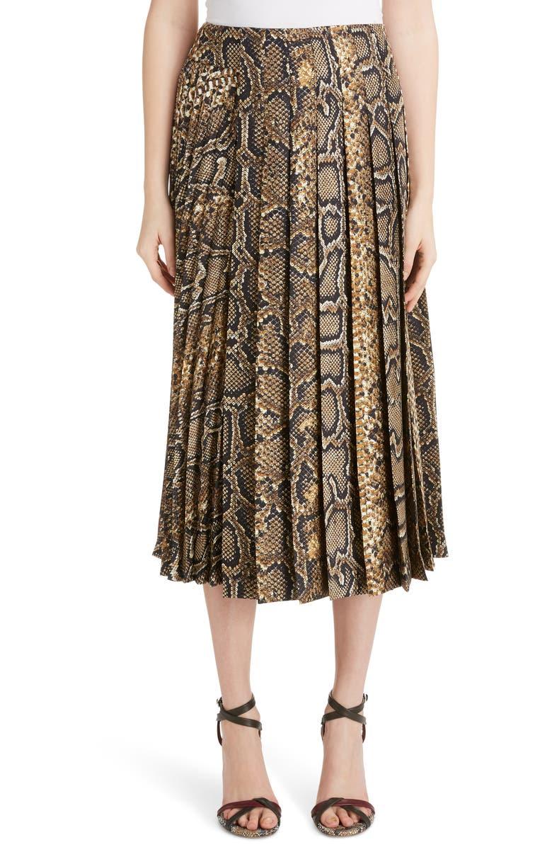Victoria Beckham Pleated Snake Print Silk Midi Skirt