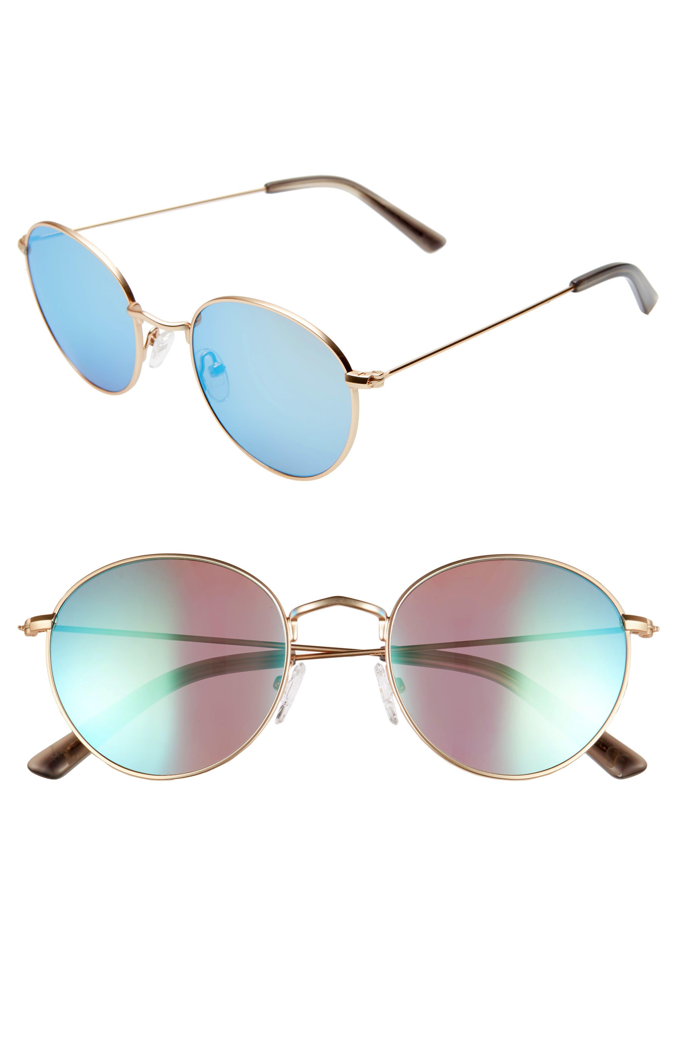 Madewell Fest 50Mm Aviator Sunglasses - Gold/ Blue