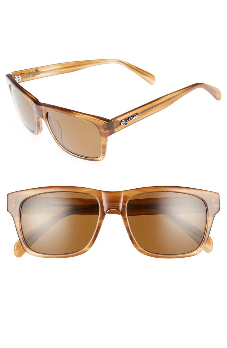 BRIGHTSIDE Wilshire 55mm Polarized Sunglasses, Main, color, CEDAR/ BROWN POLAR
