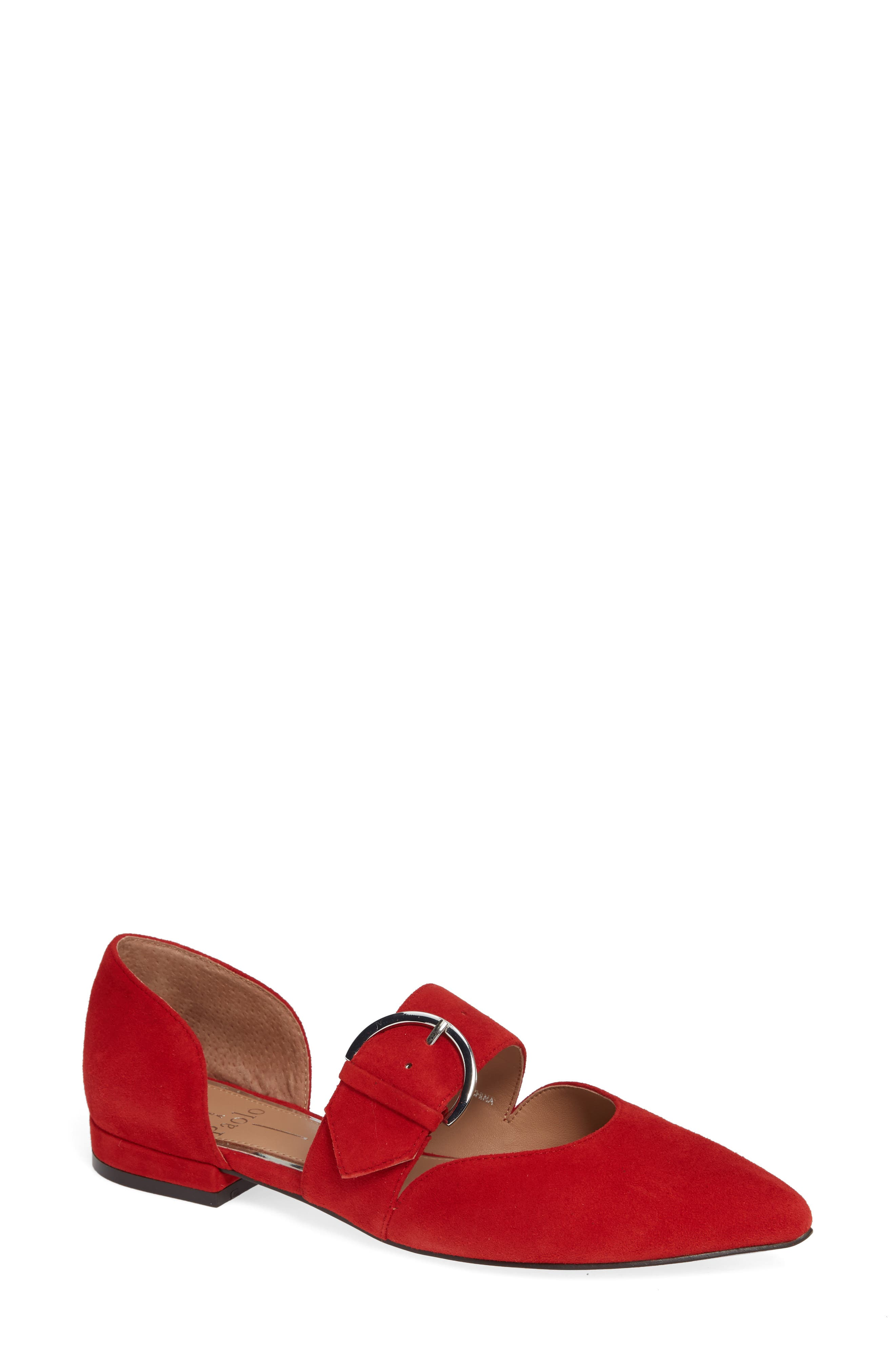 Linea Paolo Dean Pointy Toe Flat, Red