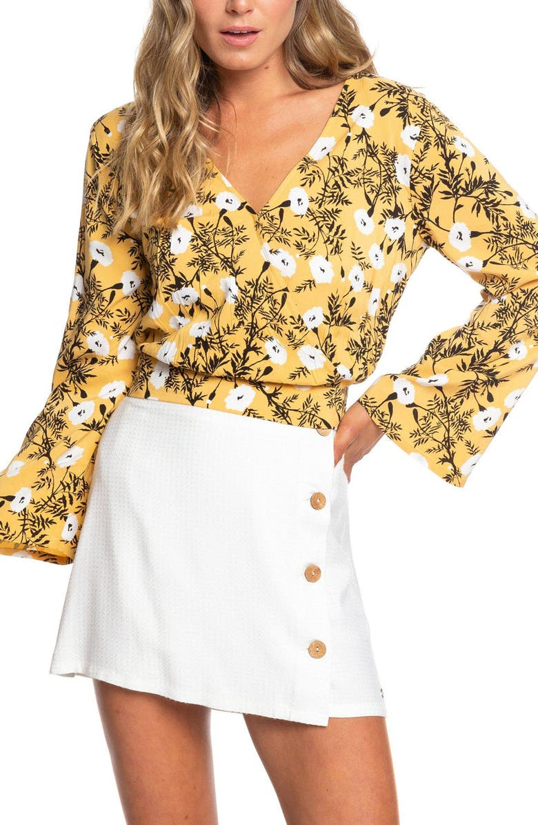 ROXY Like Gold Floral Blouse, Main, color, HONEY GOLD HONEY