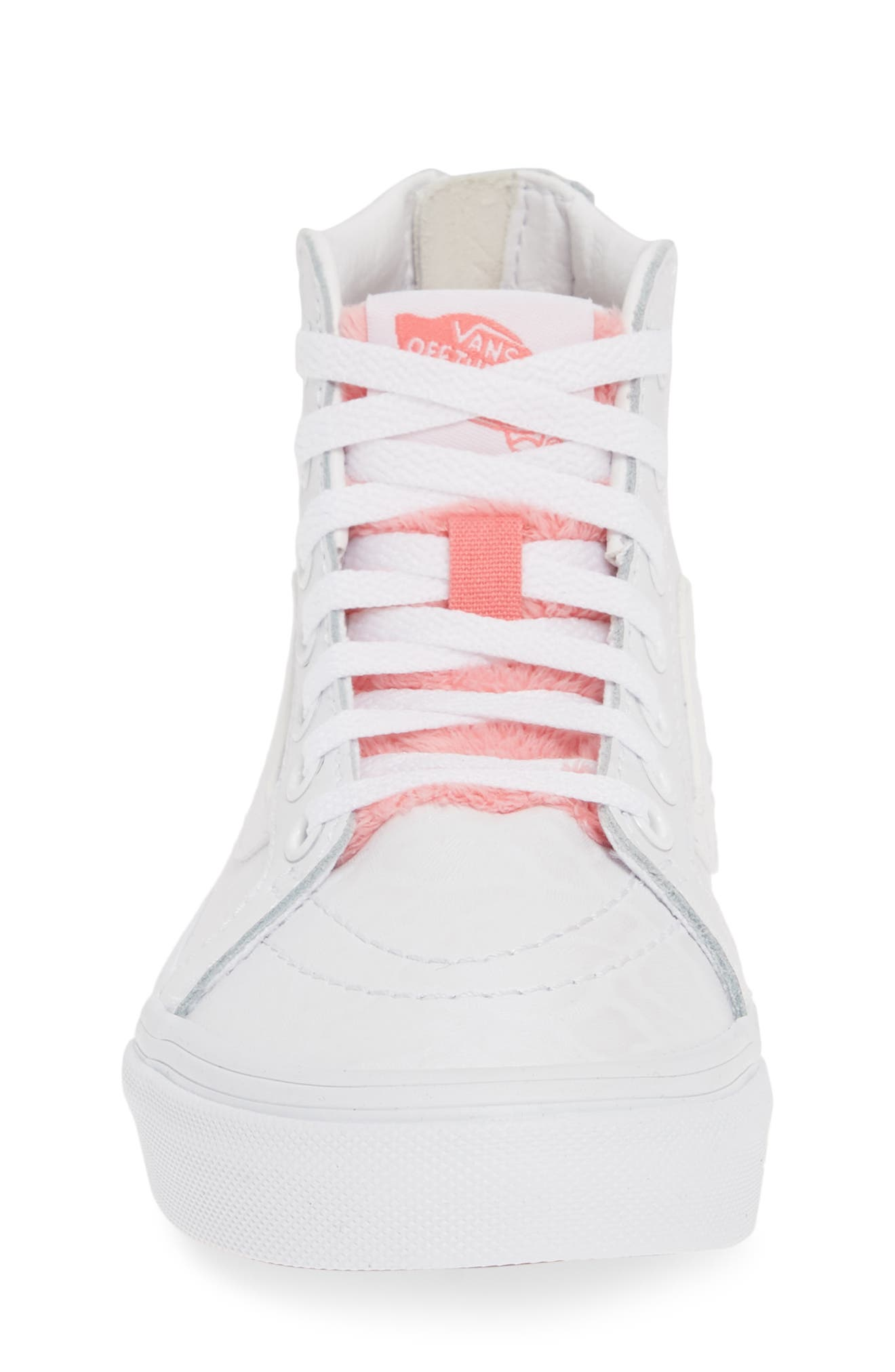 ,                             SK8-Hi Zip Leather & Faux Fur Sneaker,                             Alternate thumbnail 4, color,                             WHITE GIRAFFE TRUE WHITE/ PINK