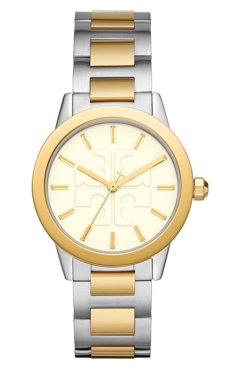토리버치 Tory Burch Gigi Two-Tone Bracelet Watch, 36mm,two-tone/ cream/ two-tone