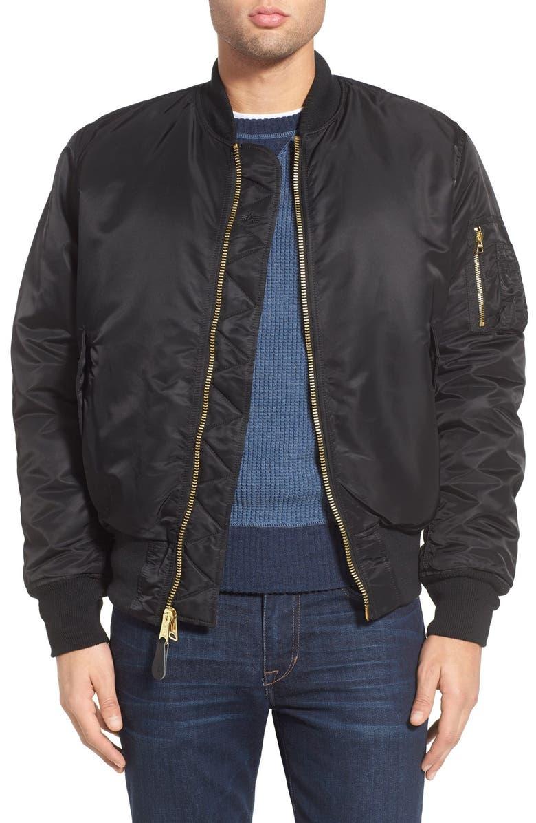 ALPHA INDUSTRIES Reversible Flight Jacket, Main, color, BLACK