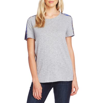 Vince Camuto Uptown Plaid Mix Media Tee, Grey