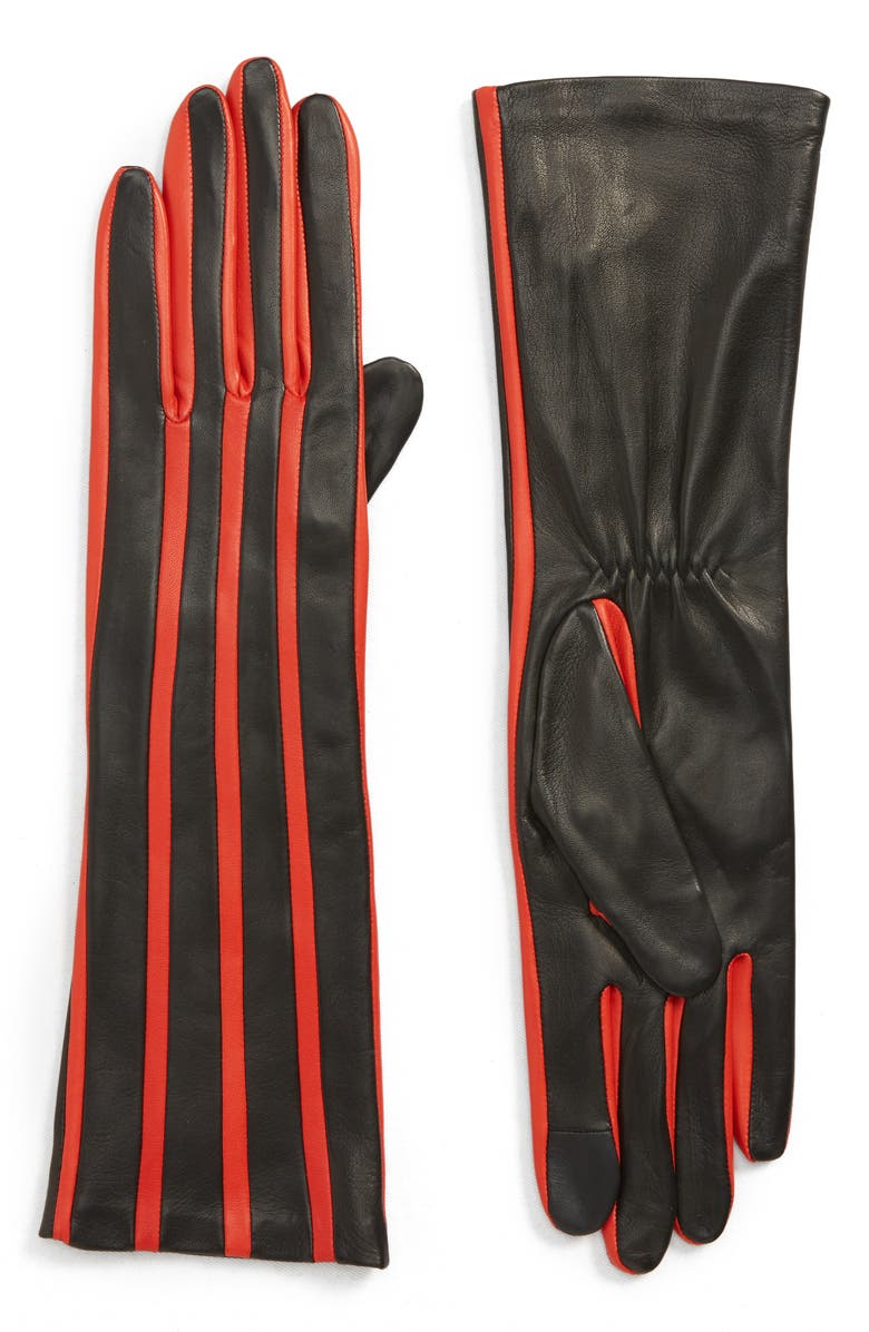 AGNELLE Stripe Lambskin Leather Gloves, Main, color, BLACK TACTILE/ RED