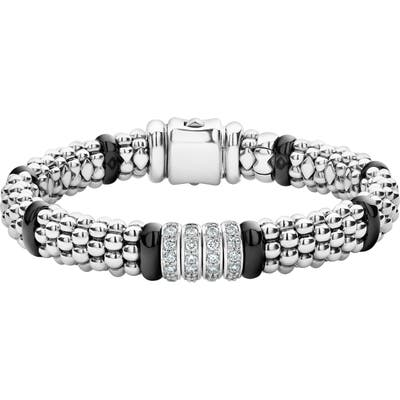 Lagos Black Caviar Diamond 4-Link Bracelet