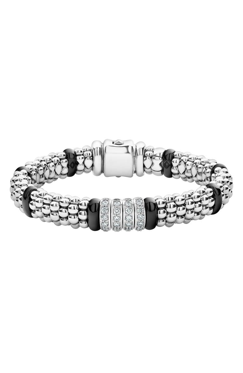 LAGOS Black Caviar Diamond 4-Link Bracelet, Main, color, SILVER/ BLACK CERAMIC/ DIAMOND
