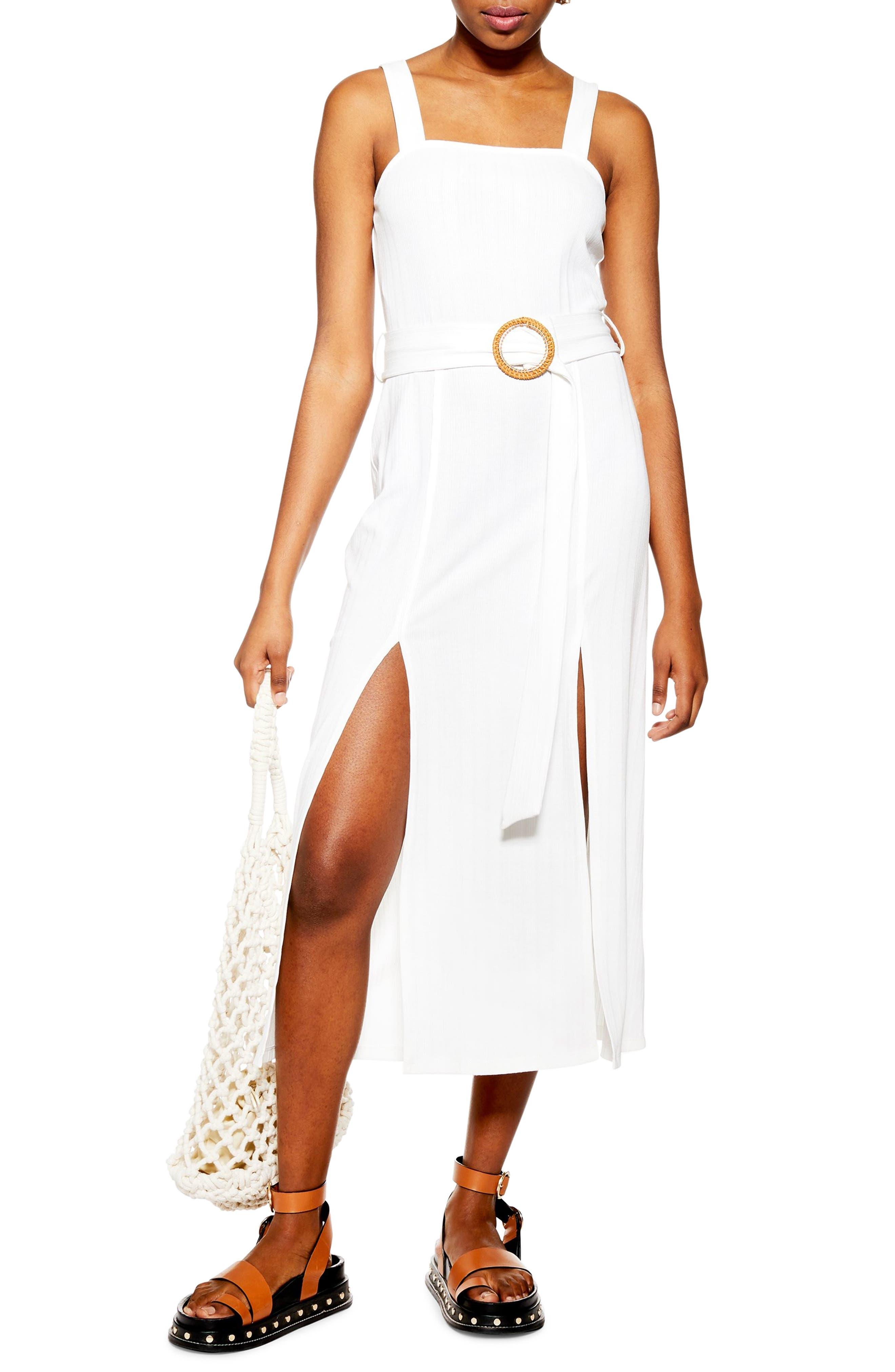Topshop Raffia Midi Dress, US (fits like 10-12) - Ivory