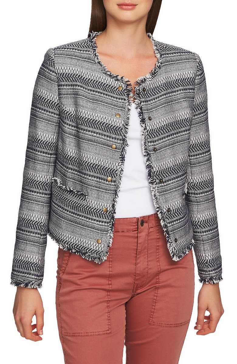 1.STATE Rustic Fringe Tweed Jacket, Main, color, 417
