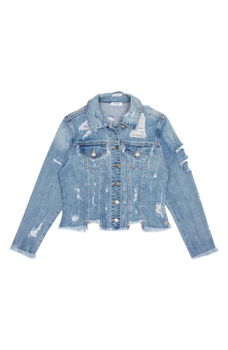 BEBE Distressed Denim Jacket, Main, color, 425