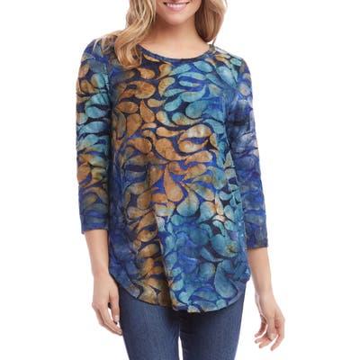 Karen Kane Burnout Shirttail Tee, Blue