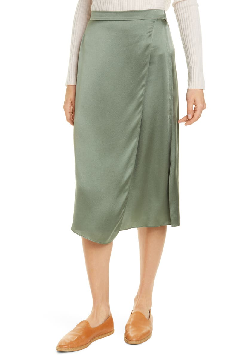 VINCE Drape Panel Silk Skirt, Main, color, SAGE FLINT