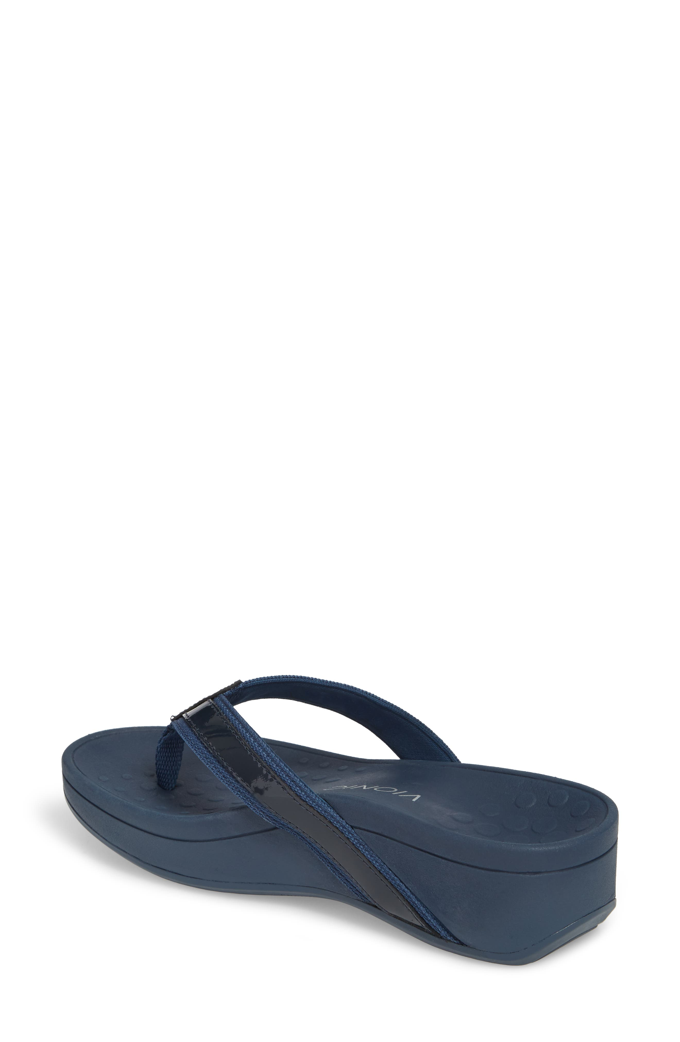 ,                             High Tide Wedge Flip Flop,                             Alternate thumbnail 2, color,                             NAVY TEXTILE LEATHER