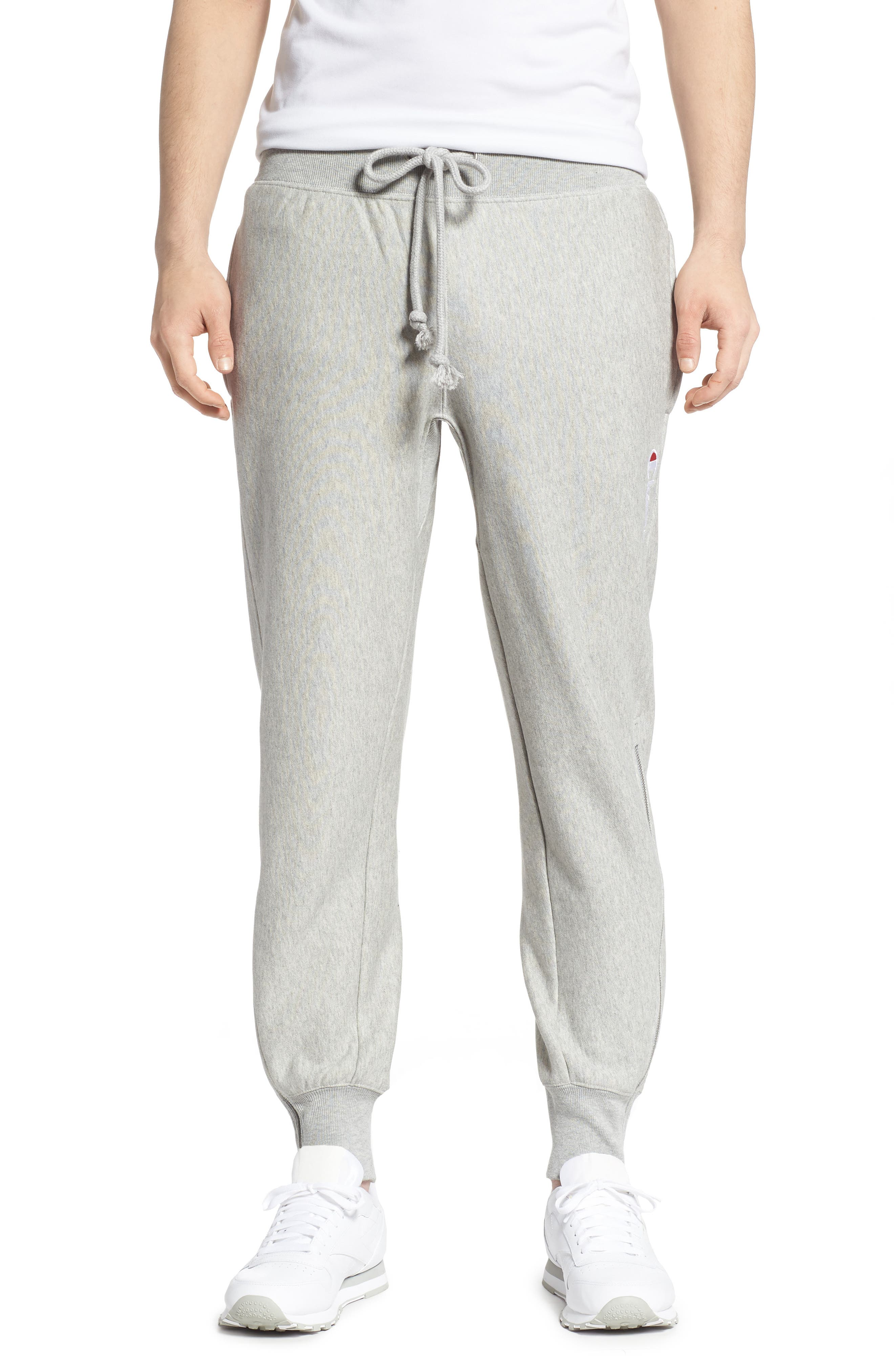 ,                             Reverse Weave Shift Sweatpants,                             Main thumbnail 1, color,                             OXFORD GREY/ WATERFALL GREEN