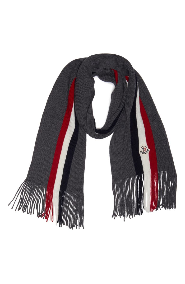 MONCLER Stripe Virgin Wool Scarf, Main, color, CHARCOAL