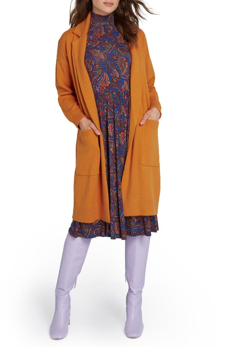MODCLOTH Open Front Sweater Coat, Main, color, ORANGE