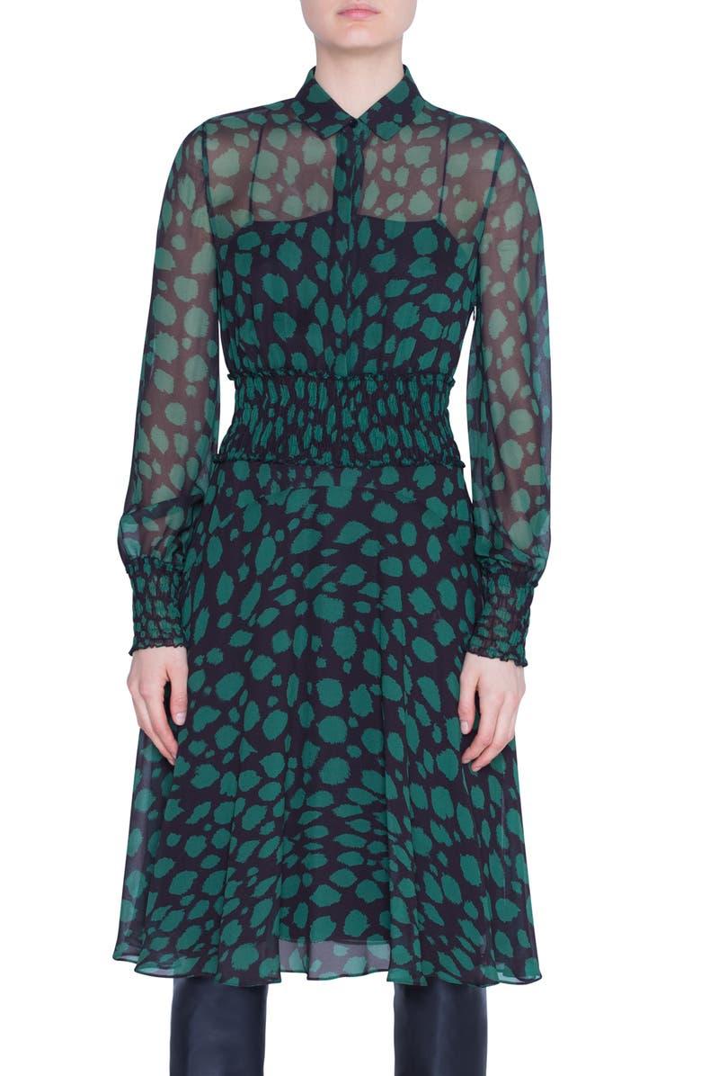AKRIS PUNTO Animal Dot Print Long Sleeve Dress, Main, color, BLACK EMERALD