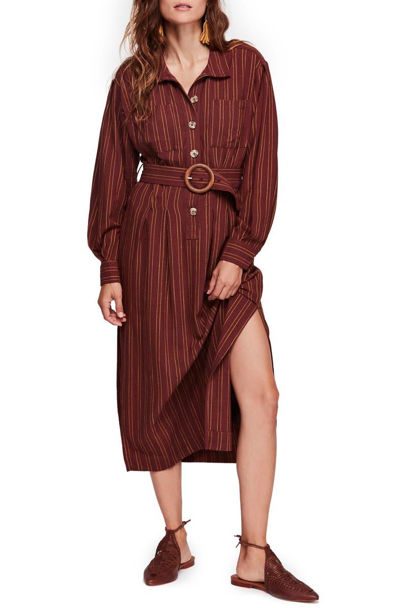 FREE PEOPLE Audrey Stripe Midi Shirtdress, Main, color, 242