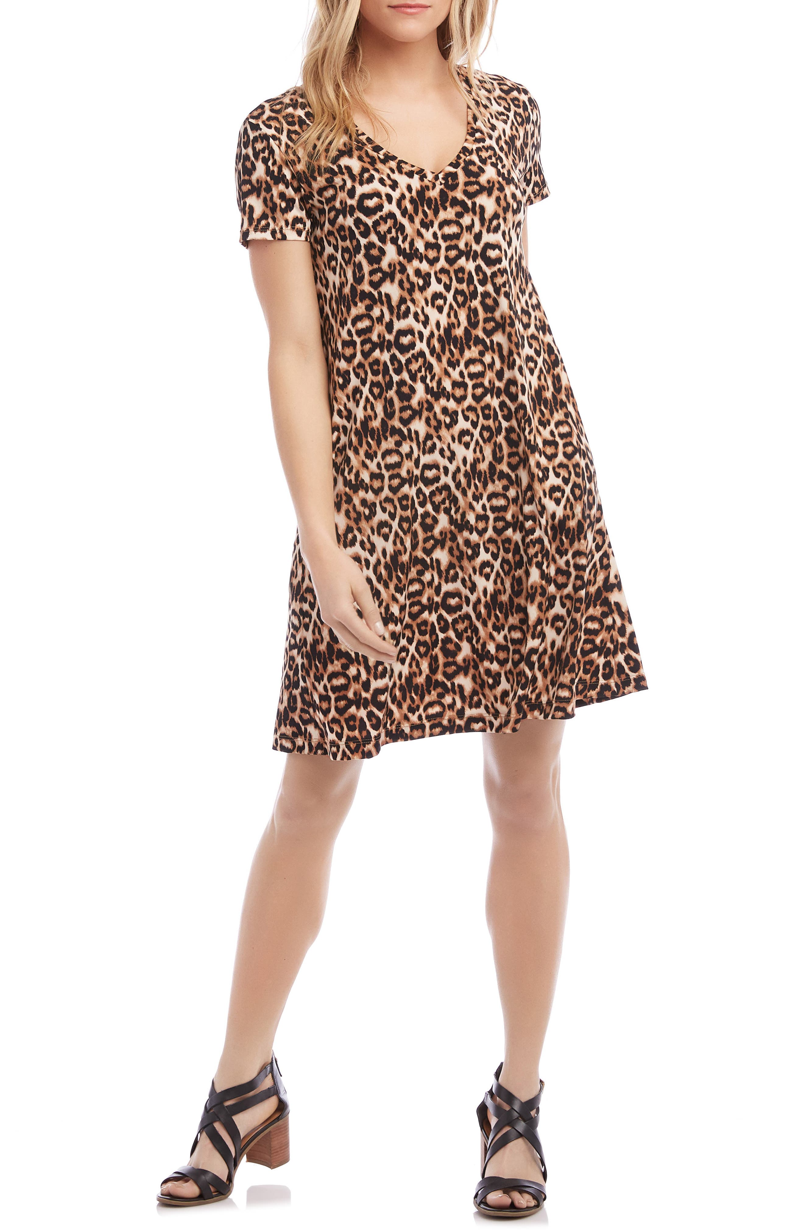 Karen Kane Quinn Leopard Swing Dress, Brown