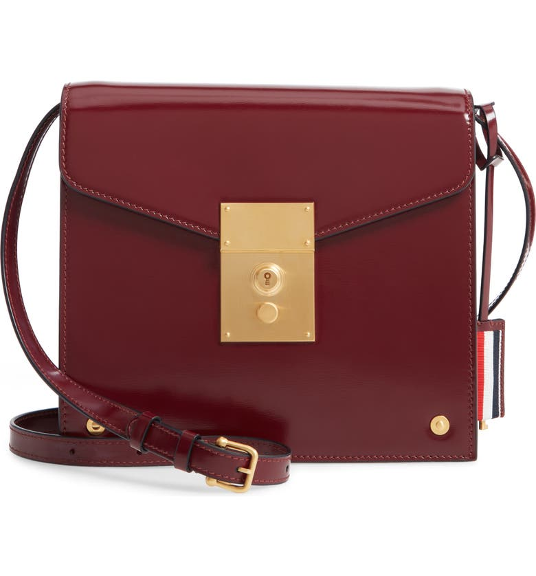 THOM BROWNE Mini Mrs. Thom Leather Crossbody Bag, Main, color, BURGUNDY