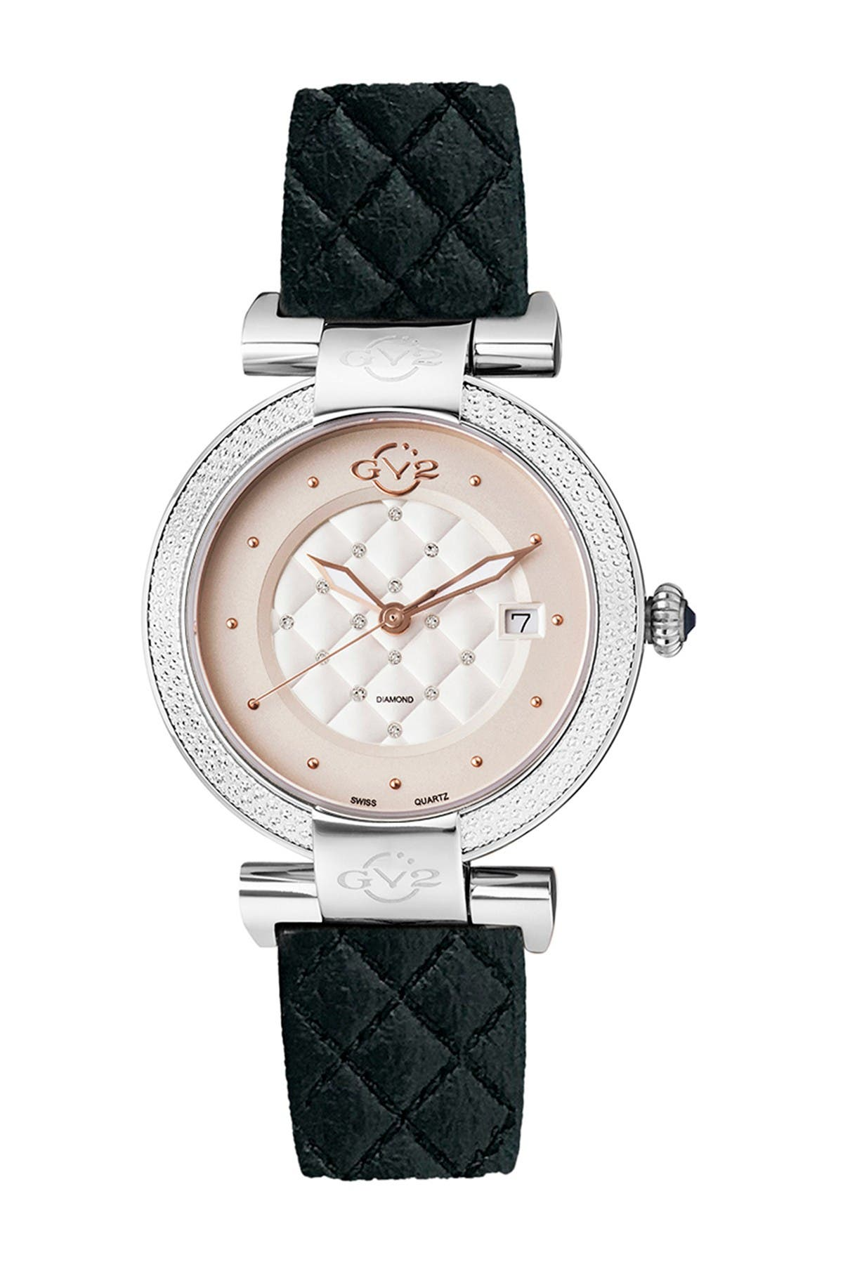 Image of Gevril Women's GV2 Berletta Diamond Apple Vegan Strap Watch, 37mm - 0.0044 ctw