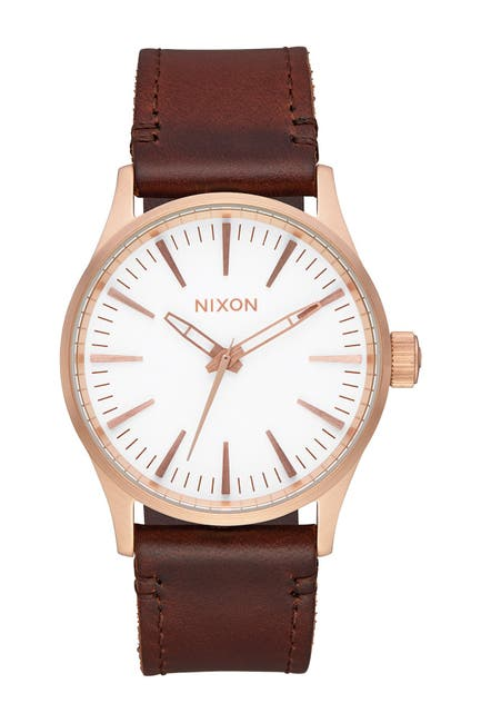Image of Nixon Men's Sentry Leather Strap Watch, 38mm