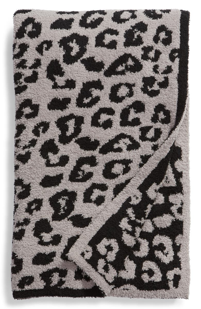 BAREFOOT DREAMS<SUP>®</SUP> CozyChic<sup>™</sup> In the Wild Throw Blanket, Main, color, DOVE GREY/ BLACK