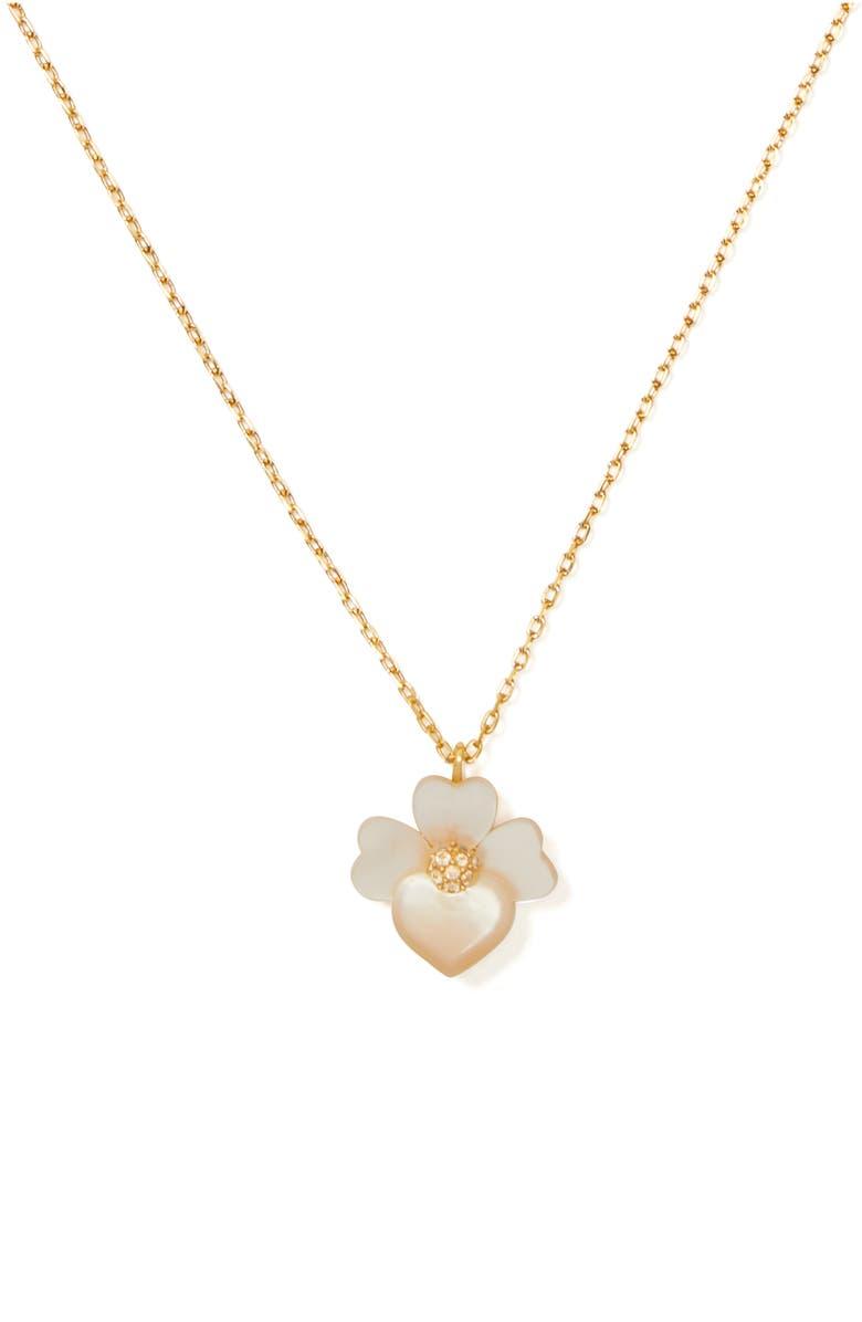 KATE SPADE NEW YORK precious pansy mini pendant necklace, Main, color, CREAM MULTI/ GOLD