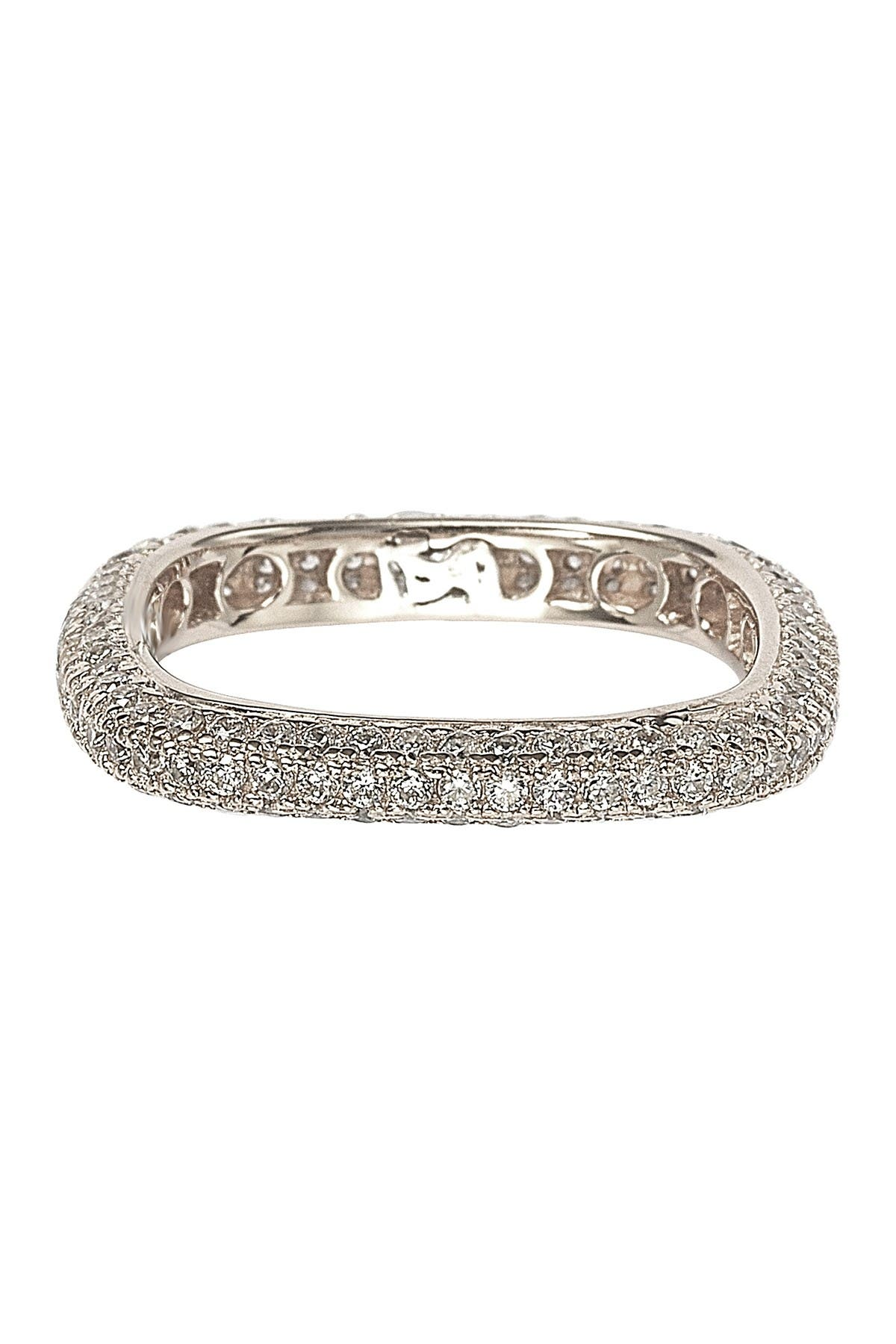 Image of Suzy Levian Sterling Silver Pave CZ Square Stackable Eternity Band Ring