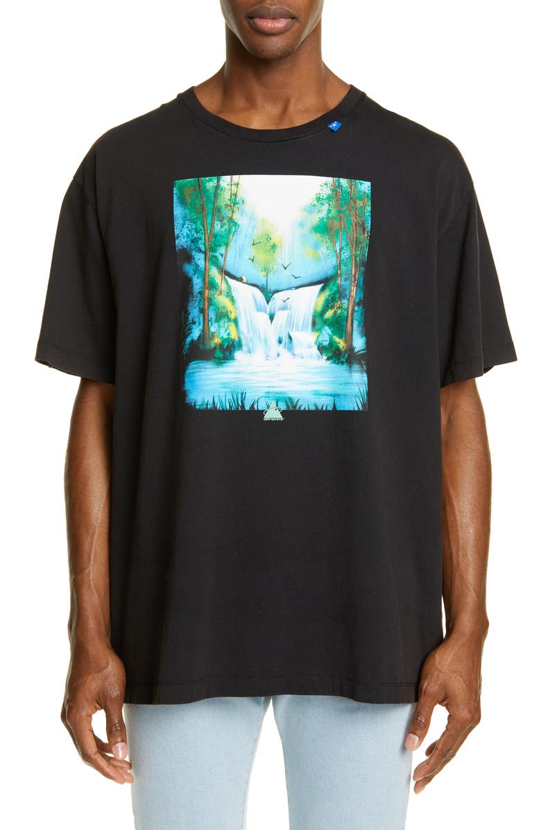 OFF-WHITE Waterfall Graphic Oversize T-Shirt, Main, color, BLACK MULTI