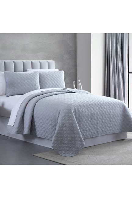 Image of Modern Threads King Enzyme Washed Diamond Link Quilted Coverlet 3-Piece Set - Gray