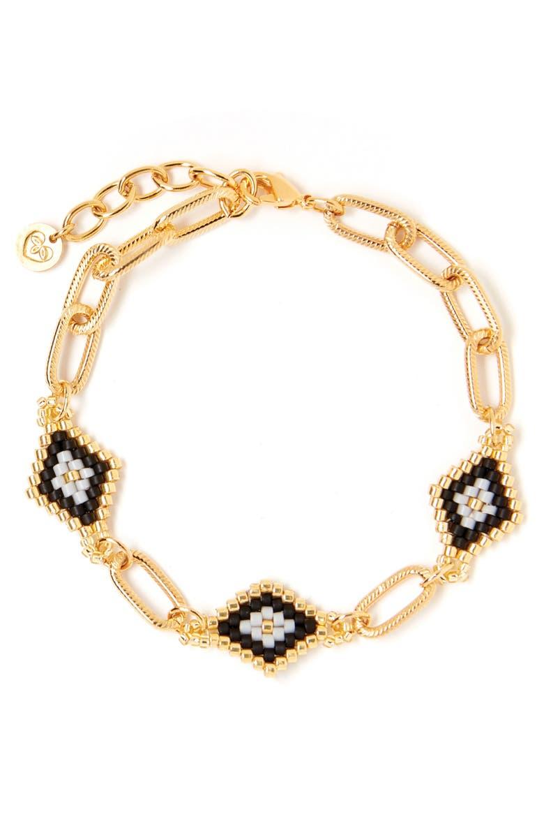 TESS + TRICIA Nora Station Bracelet, Main, color, BLACK/ GOLD