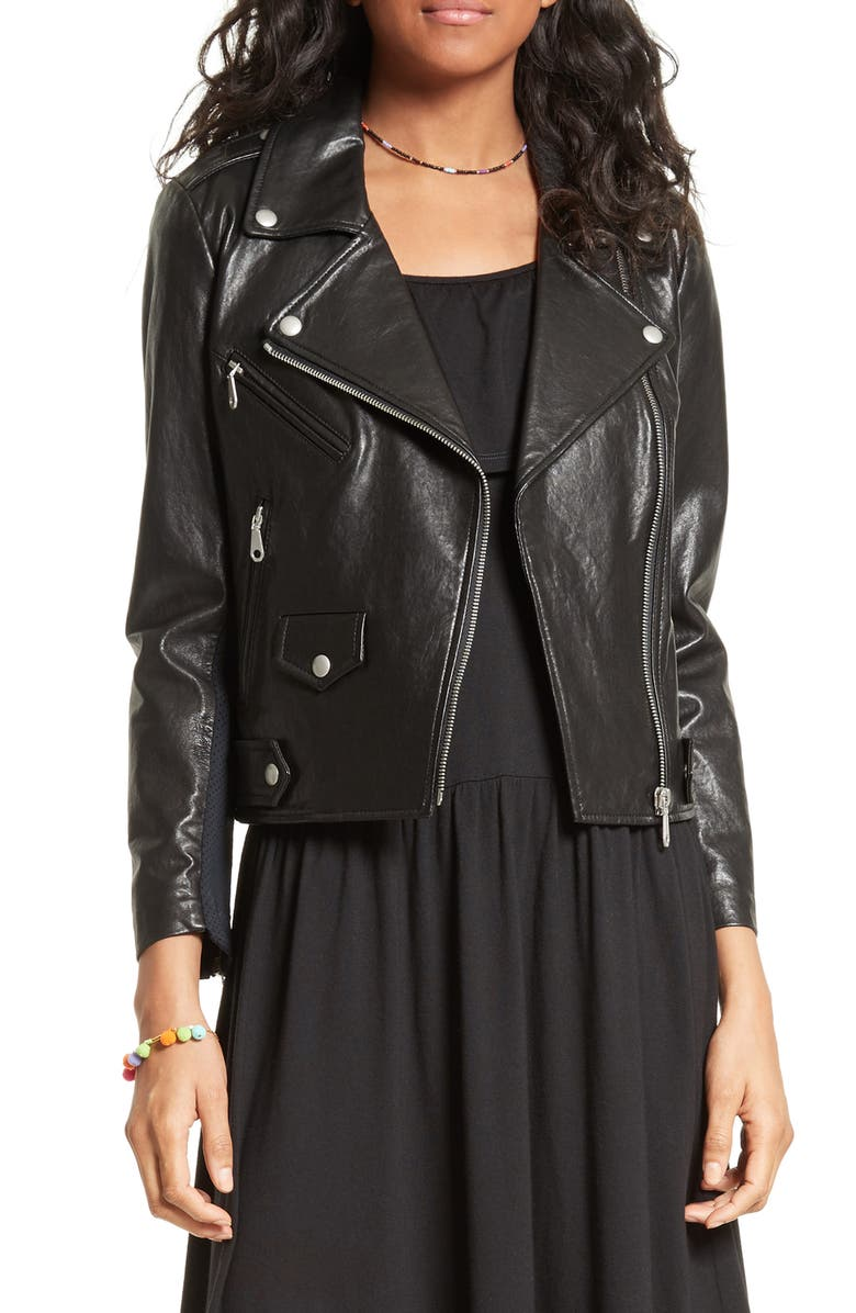 REBECCA MINKOFF Wes Moto Leather & Neoprene Jacket, Main, color, 001