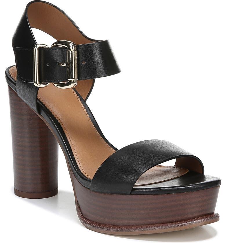 SARTO BY FRANCO SARTO Katerina Platform Sandal, Main, color, BLACK LEATHER