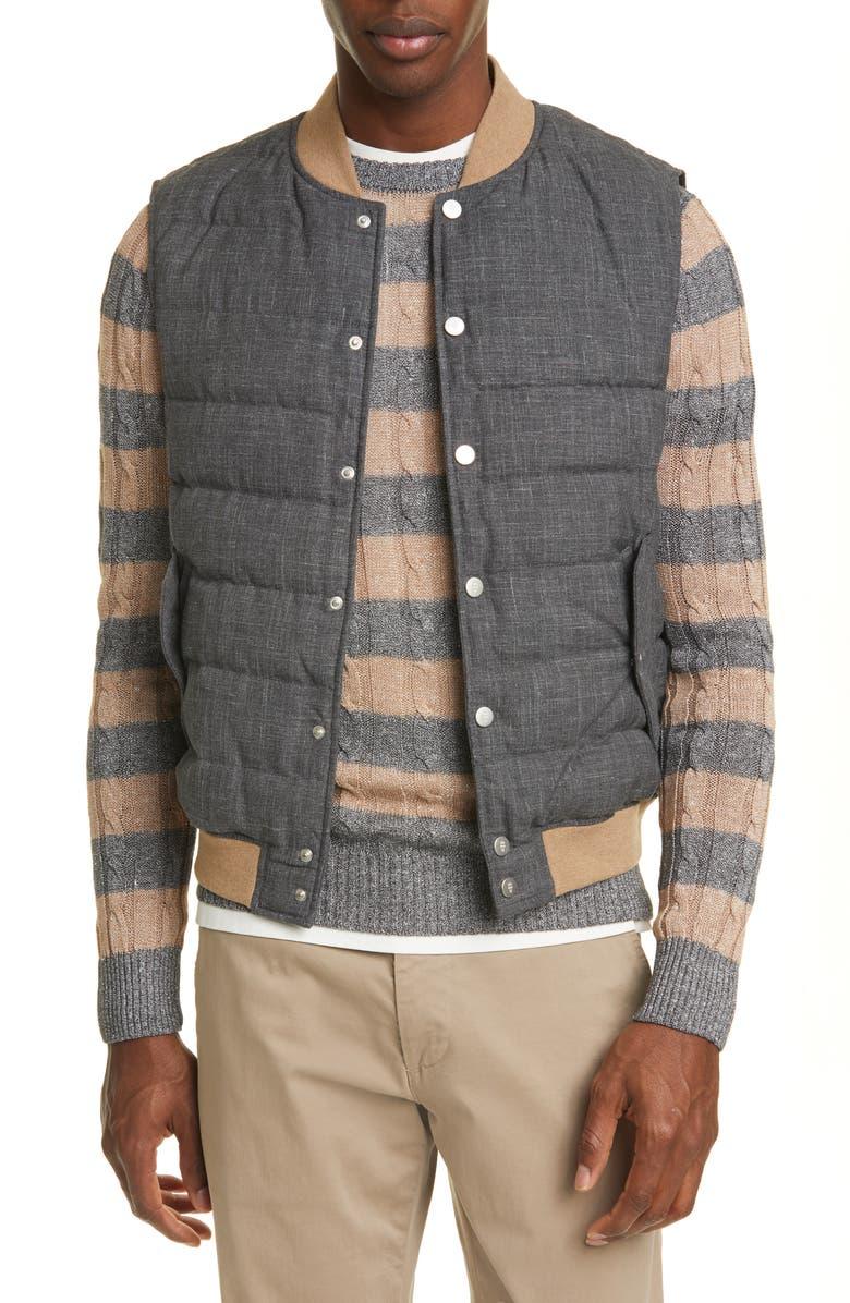 ELEVENTY Quilted Wool Blend Vest, Main, color, 052
