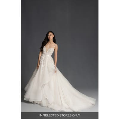 Hayley Paige Jolene Floral Applique Plunge Wedding Dress, Size IN STORE ONLY - Ivory