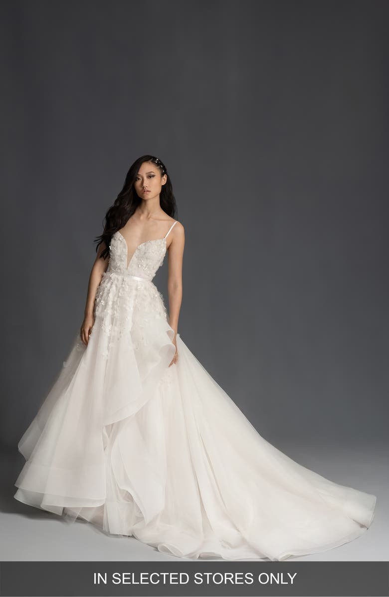 HAYLEY PAIGE Jolene Floral Appliqué Plunge Wedding Dress, Main, color, IVORY