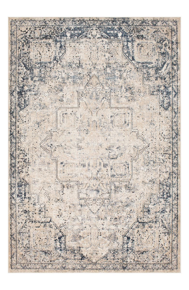 SURYA HOME Durham Medallion Area Rug, Main, color, GRAY