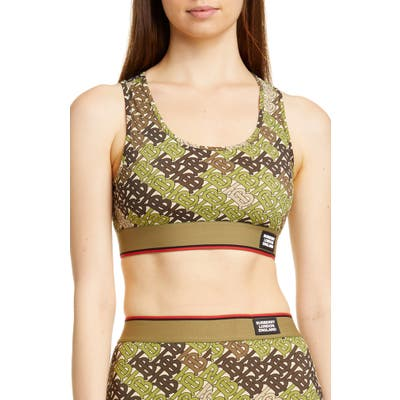 Burberry Tadmor Tb Monogram Camo Print Sports Bra, Green