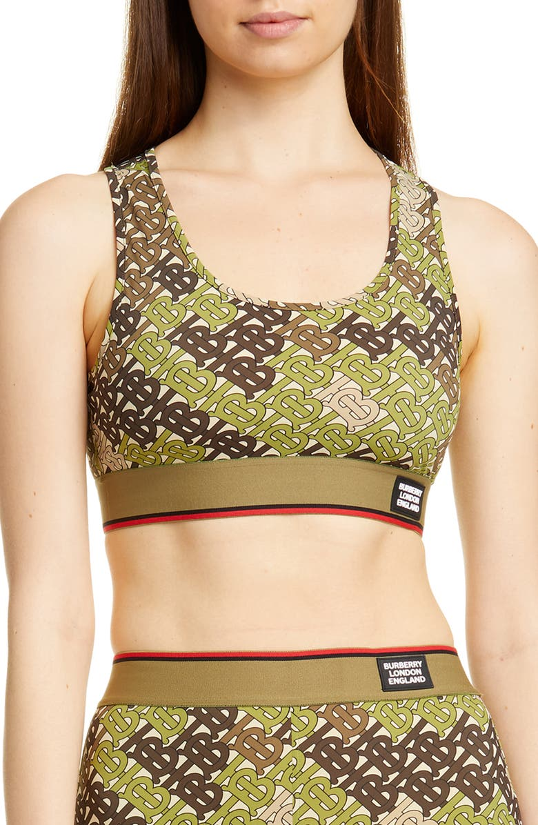BURBERRY Tadmor TB Monogram Camo Print Sports Bra, Main, color, KHAKI GREEN IP PAT