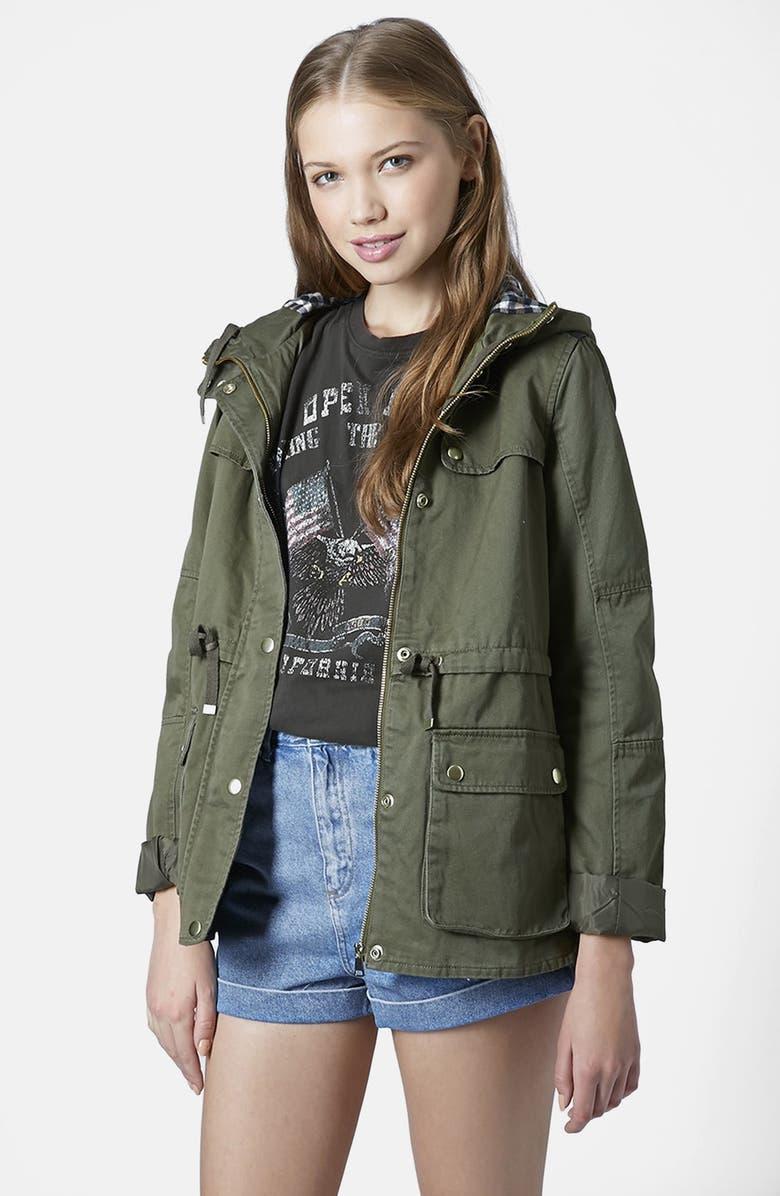 TOPSHOP Hooded Khaki Jacket, Main, color, 300