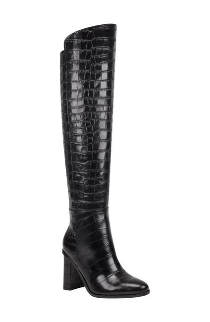 Image of Marc Fisher LTD Mlunella Croc Embossed Knee High Boot